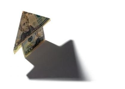 Peníze - růst cen - šipka - ceny rostou