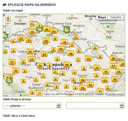 Mapa nájemného