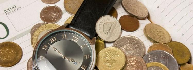 Čas - peníze - mince - kalendář - hodinky