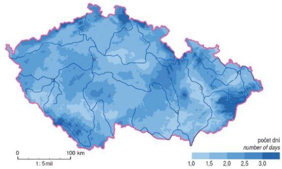 Krupobití - Průměrný roční počet dní s kroupami (1981 – 2000)